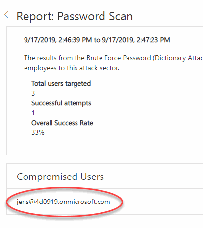 Office 365 - Password - Launch Attack - Compromised users
