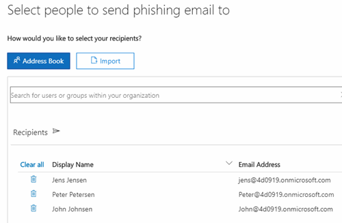 Office 365 - Password - Attack Simulater - Select people