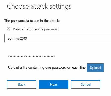 Office 365 - Password - Launch Attack - Settings